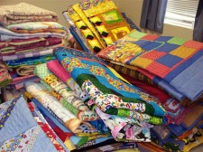 Children's quilts, ready for donation