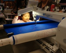 Trying out the longarm machine