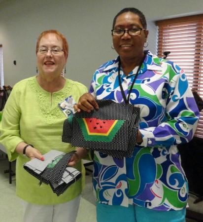 Missy Lee and Marietta Johnson with Friendship Blocks
