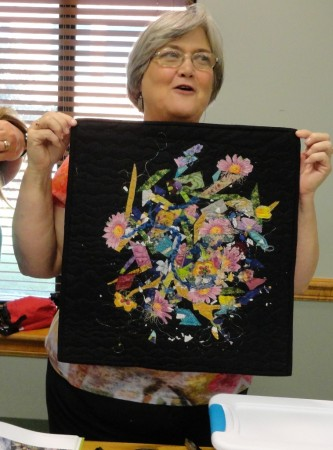 Shirley Wiltshire showing her confetti quilt